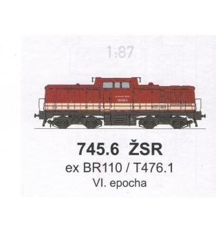 Popis na dieselovú lokomotívu 745.608-8 (ex BR110) (H0)