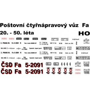"""Popis - Fa """"ČSD"""" poštový vagón I.republika  (H0)"""