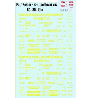 """Popis - Fa/Postm """"ČESKOSLOVENSKÁ POŠTA"""" - 60.-80.roky """"ČSD"""" (H0)"""